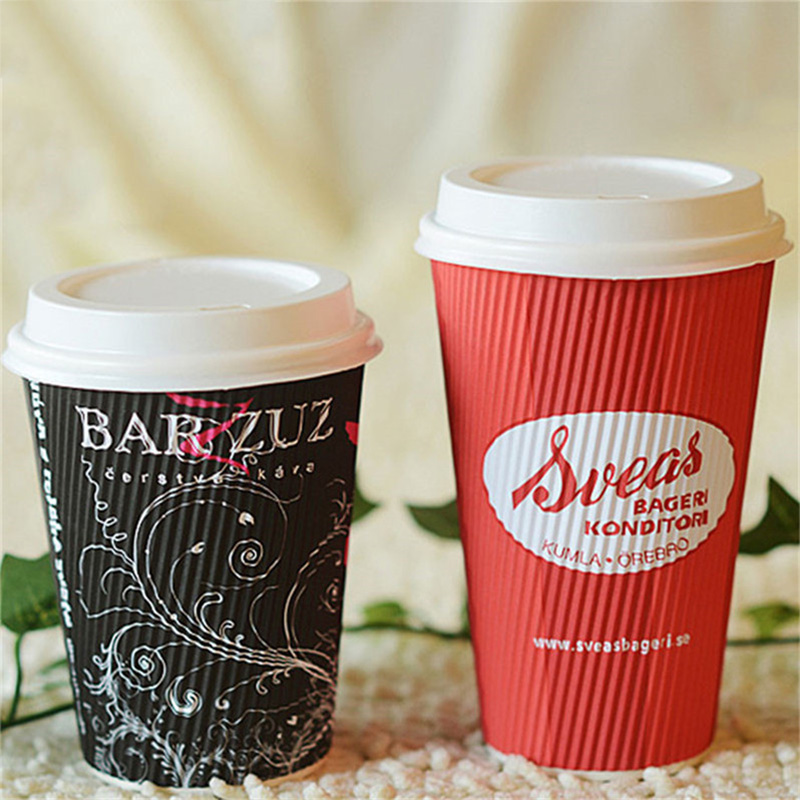 8oz Black Ripple Wall Disposable Paper Cup