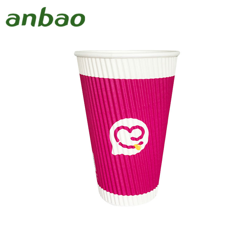 8oz s-ripple red paper cup with lid