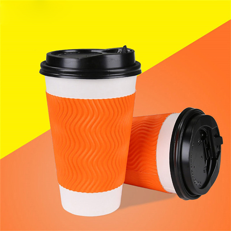disposable ripple wall coffee paper cup for hot drink