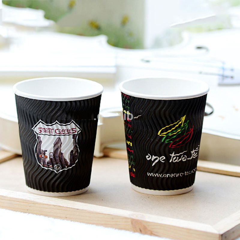 7oz 8oz 12oz 16oz ripple wall / double wall / single wall disposable coffee paper cup