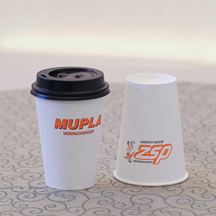 Custom printing Logo disposable single wall paper coffee cup with plastic lids for drink