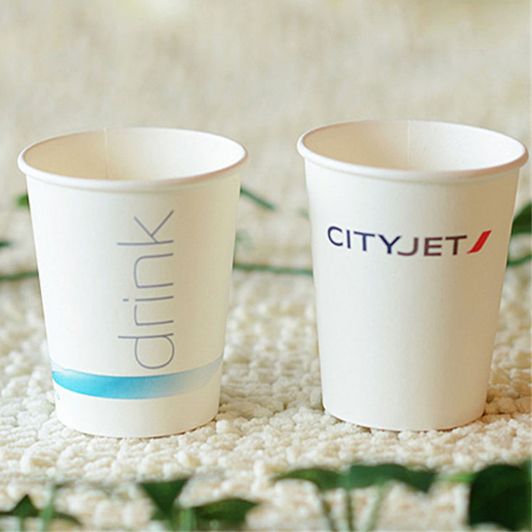 Disposable Custom Design Pe Coated Hot Drinks Single Wall Coffee Paper Cup 8 oz
