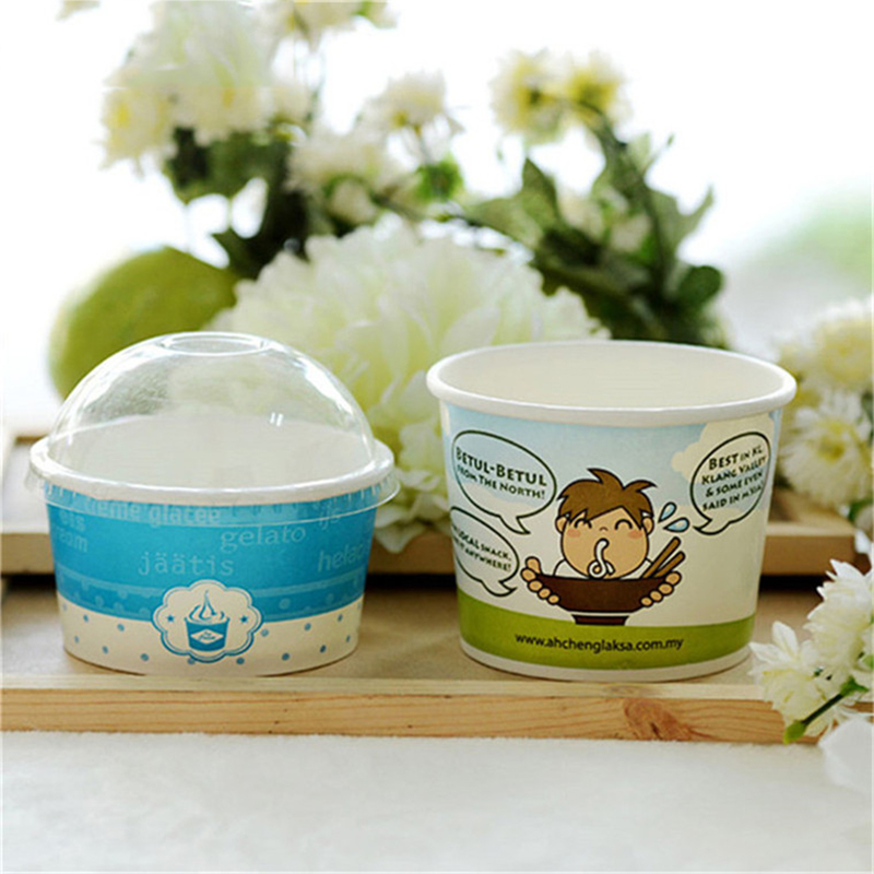 Custom Printed 250ml Disposable Ice Cream Paper Cup