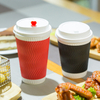 Popular Ripple Wall Customized Red Paper Cups With Lids