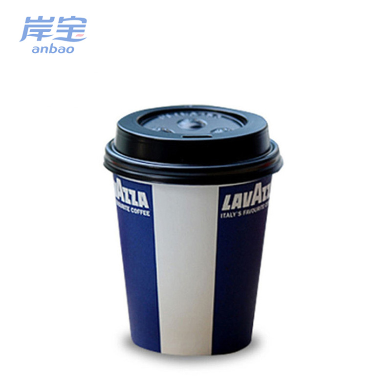logo printed disposable single wall paper coffee cup with lid